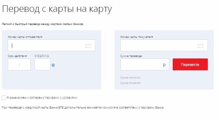 сервис переводов на сайте банка